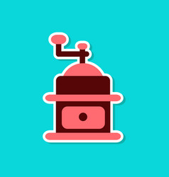 Paper sticker on stylish background coffee mill vector