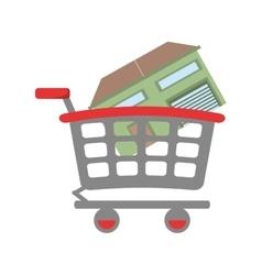 Real estate house shop cart vector
