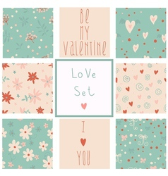 Romantic seamless patterns vector