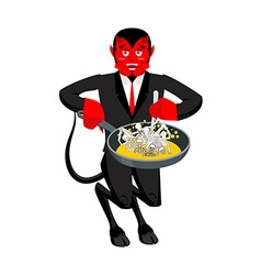 Satan roasts sinners in pan skeletons in boiling vector