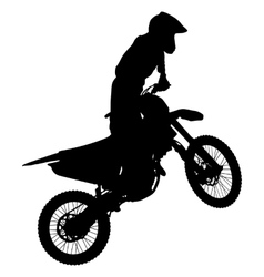 Silhouettes Rider participates motocross vector image vector image