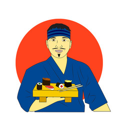 Smiling asian chef with sushi with japan flag back vector