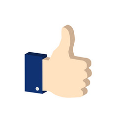 Thumb up symbol flat isometric icon or logo 3d vector