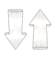 Up and down arrows hand drawn sketch vector