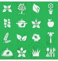 Vegetarian organic food icons vector