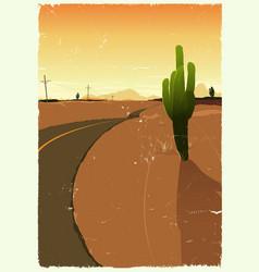 Western desert road vector