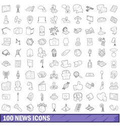100 news icons set outline style vector image