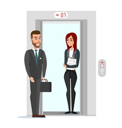 Business people in office building elevator vector