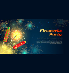 fireworks party barner collection of pyrotechnics vector image