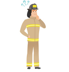 Thinking firefighter with question marks vector