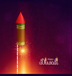 Diwali cracket rocket with sparkle vector