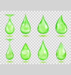 Transparent green drops vector