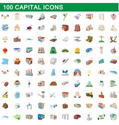 100 capital icons set cartoon style vector