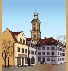 Pedestrian street in the old european city vector