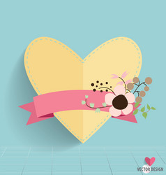 Heart paper with floral bouquets and ribbon vector