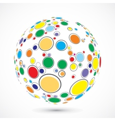 Globe consist of color circles vector
