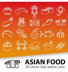 Asian food outline icons vector