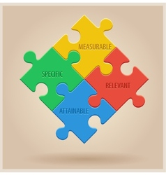 Four colourful puzzle pieces business infographic vector