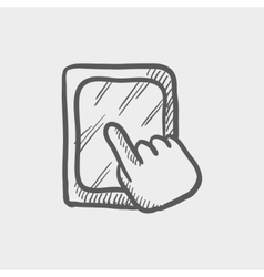Tablet touchscreen sketch icon vector
