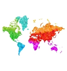 Geometric world map in colors vector