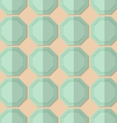 Retro fold light green octagons vector