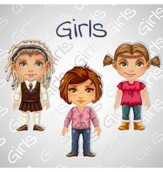 Set of tree images of teenager girls for animation vector