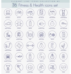 Fitness and health outline icon set vector