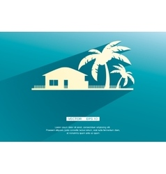 Styled bungalows and palm trees white with flat vector