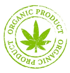 Green organic cannabis marijuana stamp vector