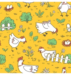 Seamless pattern with chickens and eggs vector image
