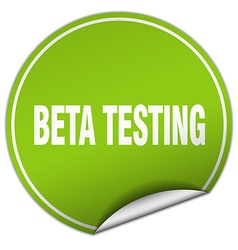 Beta testing round green sticker isolated on white vector