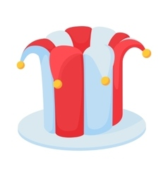 Jester hat icon in cartoon style vector