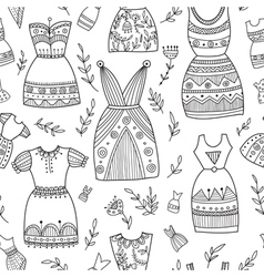 Boho ethnic style dresses seamless pattern vector
