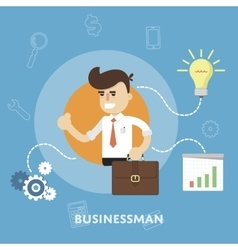 Businessman with business ideas design concept vector image vector image