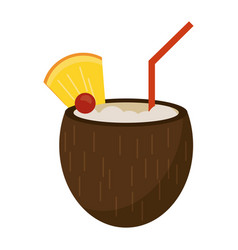 Cocktail coconut fresh drink vector