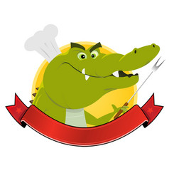 Crocodile restaurant banner vector