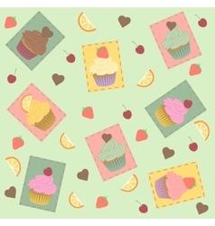 Cupcake seamless pattern Strawberry chocolate vector image