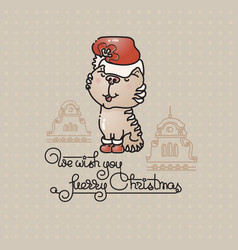 cute cat with santa hat and handwritten text vector image vector image
