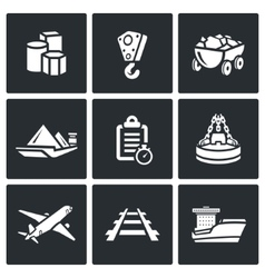 Delivery of goods in different ways icons set vector