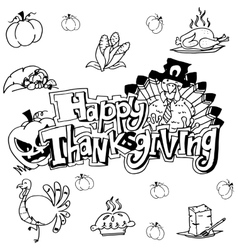 Doodle art happy thanksgiving vector