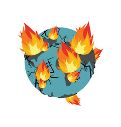 Earth on fire planet is burning disaster doomsday vector