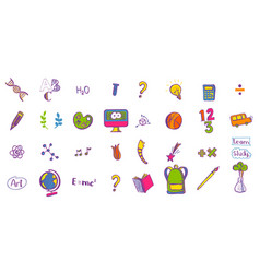 Education colored doodle icons vector