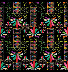 floral grecian seamless border pattern vector image
