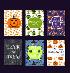 halloween party cards pumpkin ghost holiday vector image