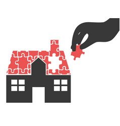 hand took house puzzle piece vector image