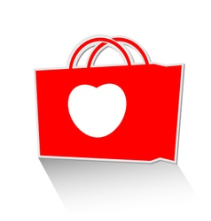 Heart with shopping bag icon vector