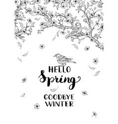 Hello spring goodbye winter vector image vector image
