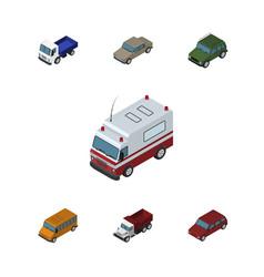 Isometric automobile set of lorry autobus car vector