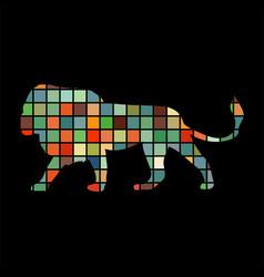 lion predator color silhouette animal vector image