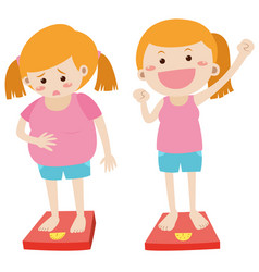 losing weight theme with fat and thin girl vector image